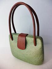 BAHAY BAGS CLAM SHELL DESIGN GREEN WOVEN BUNTAL & BROWN LEATHER HANDBAG
