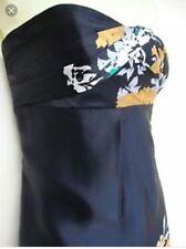 MONSOON OPHELIA FLORAL BLACK SILK STRAPLESS PARTY DRESS SIZE 14