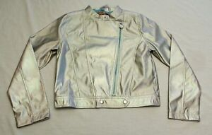 Disney Girl's Frozen 2 Moto Jacket BM6 Glittering Iridescent Medium (7-8) NWT