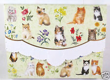 Carol Wilson 10 Blank Note Card Lace Borders Stationery Kittens & Flowers New