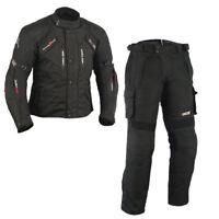 Verano Textile Traje Moto, Negro Chaqueta de Moto y Pantalones Hombre