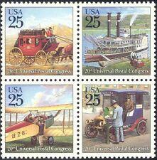 USA 1989 UPU/Horses/Boat/Bi-plane/Car/Paddle Steamer/Transport 4v blk (n25441)