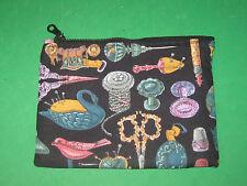 """VINTAGE SEWING NOTIONS"" - CLOTH ZIPPER POUCH-MAKE UP BAG-STASH BAG-Handmade"