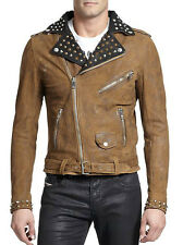 DIESEL L-ULISSES BROWN LEATHER JACKET SIZE S 100% AUTHENTIC