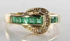 CLASS 9K 9CT GOLD COLOMBIAN EMERALD DIAMOND ART DECO INS BUCKLE BELT RING