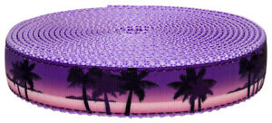 Country Brook Design® 1 Inch Caribbean Twilight on Lavender Nylon Webbing, 5 Yds