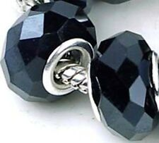 Faceted Black Glass Onyx Rondelle Fit Charm Bracelet Beads (8)