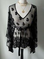 Topshop Kate Moss Black Floral Lace Tulle Kimono Kaftan Cover-up Blouse UK 10