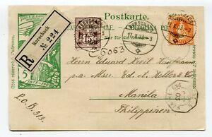 Switzerland registered postcard Rorschach to Manila Philippines 17.10.1903