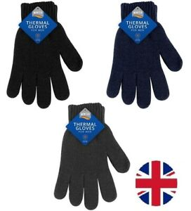 Mens Unisex Winter Thermal Gloves Knitted Extra Warm Stretch Wool Hand Heat UK