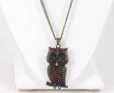 FASHION BRASS BLUE & PURPLE CRYSTALS OWL PENDANT DOUBLE STRAND NECKLACE 4531B