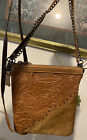 MONTANA WEST western embossed & cow hair Cell Pouch Leather Hobo shoulder bag