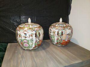 Pair of Antique Chinese Porcelain Famille Rose Covered Jar/Urn/Vase Lovely