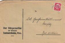 LEIMERSHEIM, Briefumschlag 1936, Der Bürgermeister