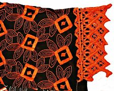 BLACK & ORANGE EMBROIDERED SHAPED LONG COTTON HEAD SCARF / HEADTIE / WRAP, LA146