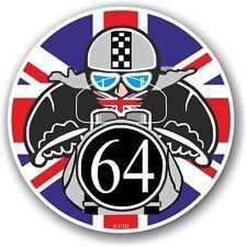 Retro cafe racer 1964 ton up club union jack drapeau cocarde vinyle voiture vélo autocollant