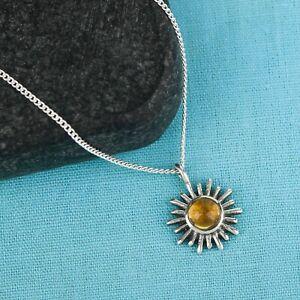 Sun Design Round Citrine Necklace 925 Sterling Silver Handmade Silver Necklace