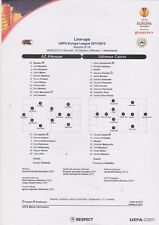 Opstellingen / Line-ups AZ Alkmaar v Udinese Calcio 8-03-2012 UEFA Europa League