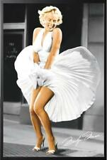 Marilyn Monroe Poster Iconoic Blowing Dress in Black Wood Frame 24x36