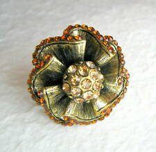 Art Deco Gold Flower Adjustable Ring w/Rhinestones