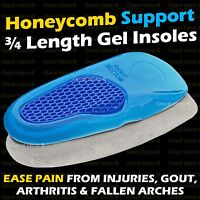 ¾ Gel Orthotic HEEL Spur Insoles Support Cushion Pads Leg Foot Knee ARCH Pain