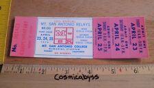 1976 Mount San Antonio Sac Relays Track Meet full Ticket Los Angeles