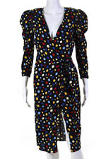 Reformation Womens Jaylee Spotted Wrap Dress Black Blue Red Size Small