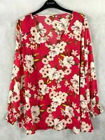 New Ex EVANS Plus Size Ladies Women's Pink Ivory floral Lily Tunic Blouse Top
