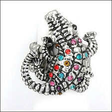 Jewelry Crystal Multi-color Silver T Alligator Crocodile Stretch Cocktail Rings