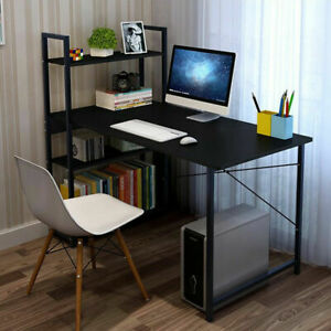 Computer Desk 4 Shelves Black Home Office Large Laptop PC Table Gaming Furniture