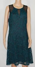 Guess #6514 NEW Women's Size 14 Green & Black Illusion Lace Dress $138