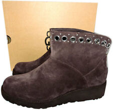 06d69837a $179 UGG Australia RILEY Suede Ankle Boots Grommets Fur Lined Wedge Booties  9