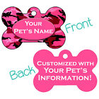Pink Camo Double Sided Pet Id Dog Tag Personalized for Your Pet