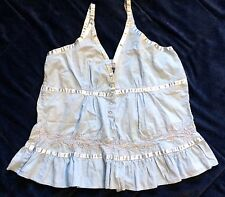 JUST CRUISING Juniors Free Size Sleeveless Top Blue Adj Ribbon Strap Embroidered
