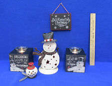 Snowman Christmas Decorations 3 Candle Holders Ornament Sign Let It Snow Lot 5