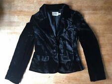 Vintage 90s Womens Black Silk Velvet Juicy Couture Blazer Jacket Size 6 / 8