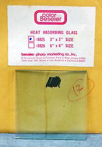 """BESELER 3"""" x 3"""" HEAT ABSORBING GLASS #8825 FOR?- NOS, NIB"""