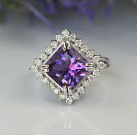 Gorgeous 14K White Gold 4.74ct Natural Amethyst And Diamond Luxury Cocktail Ring