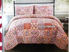 3PC KING QUILT SHAM SET PAISLEY FLORAL Red Burgundy NEW