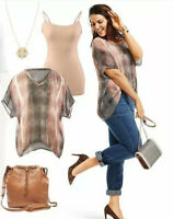 CAbi #240 Cover Up Tee Small Boxy Sheer Top Shirt Blouse Short Sleeve Tunic