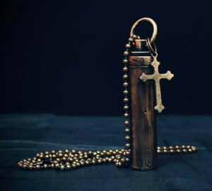 DISTRESSED BRASS CRUCIFIX CROSS CHARM URN VIAL CAPSULE ASHES PENDANT & NECKLACE