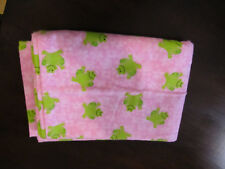 Lime Green Frogs on Marbled Pink Xl Extra Large Flannel Receiving Blanket