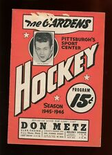 1945/1946 AHL Hockey Program Cleveland Barons at Pittsburgh Hornets