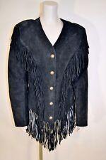 Vintage Cripple Creek Black suede Fringe Snap Front Western Jacket Sz M