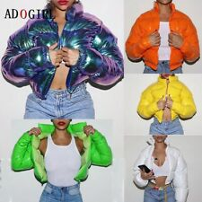 Adogirl Winter Jacket Women Neon Color Puffer Padded Parka Shiny Thick Wet look