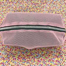 LAURA GELLER Pink Mesh Makeup Bag NEW Silver Zipper Black Interior FREE SHIPPING