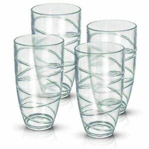 New 4pcs Tumbler Drinking Glasses Plastic Acrylic Glass Summer Party Picnic BBQ