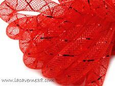 2 m Tube Résille Tubulaire 8 mm rouge avec fil lurex rouge