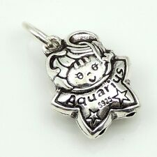 S925 Stamped Sterling Silver Aquarius Horoscope Zodiac Baby Star Pendant