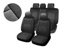 Black/ Charcoal Poly Fabric Full Set Car Rear Split Seat Covers for Nissan #8660